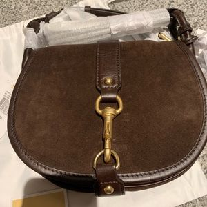 Michael Kora Dark Brown Jamie Suede Saddle Bag